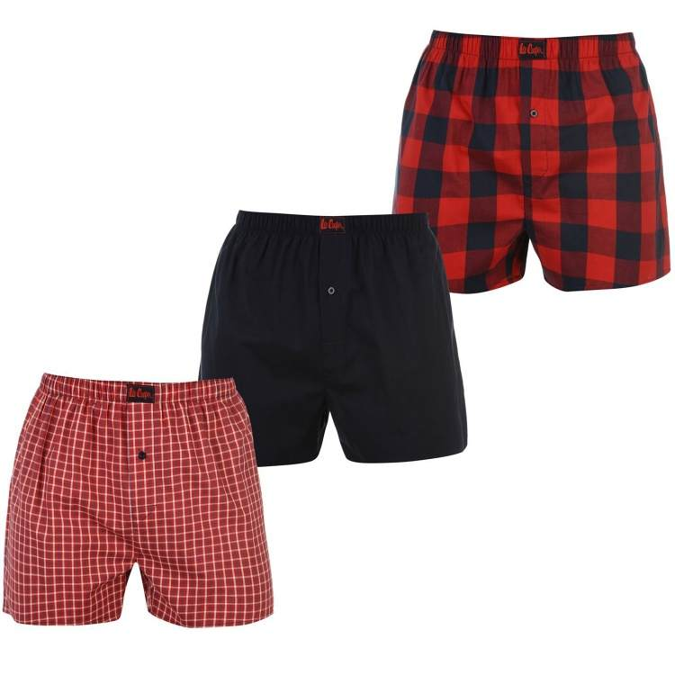 Lee Cooper 3 Pack Woven Boxers Mens Red/Navy Large